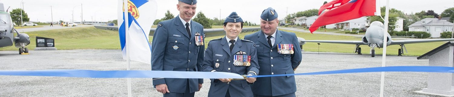The Shearwater 100th Anniversary Parade took place on Thursday August 2, 2018 at 12 Wing Shearwater and was followed by the opening of the Shearwater Aviation Museum park opening. The parade was to honour Shearwater's 100 year history to the Royal Canadian Air Force and the local region.  !2 Wing Commander, Colonel Connor, Brigadier-General Bourgon and 12 Wing Chief Warrant Officer Hepditch officially open the Shearwater Avaition Museum park.  Photo Credit: Cpl Jennifer Robinson-McGuire 12 Wing Imaging Services SW08-2018-0238-020